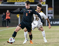 COLLEGE PARK, MD - NOVEMBER 21: Najim Romero #10 of Iona defends against Justin Gielen #9 of MarylandNajim Romero #10 if Iona during a game between Iona College and University of Maryland at Ludwig Field on November 21, 2019 in College Park, Maryland.