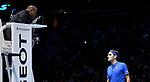 Umpire Carlos Bernardes talking to Roger Federer during  the Semi Final match between Roger Federer and Alexander Zverev<br /> <br /> Photographer Hannah Fountain/CameraSport<br /> <br /> International Tennis - Nitto ATP World Tour Finals Day 7 - O2 Arena - London - Saturday 17th November 2018<br /> <br /> World Copyright © 2018 CameraSport. All rights reserved. 43 Linden Ave. Countesthorpe. Leicester. England. LE8 5PG - Tel: +44 (0) 116 277 4147 - admin@camerasport.com - www.camerasport.com