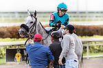 HALLANDALE BEACH, FL - JAN 20:X Y Jet #1 with Emisael Jaramillo in the irons for trainer Jorge Navarro outside the winner's circle after winning the $100,000 Sunshine Millions Sprint Stakes at Gulfstream Park on January 20, 2018 in Hallandale Beach, Florida. (Photo by Bob Aaron/Eclipse Sportswire/Getty Images)