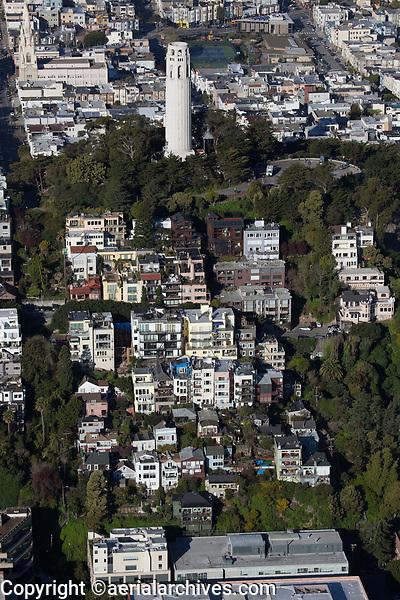 aerial photograph North Beach, Telegraph Hill, Coit Tower, San Francisco, California