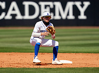IMG Academy Ascenders shortstop Drake Varnado (9) waits for a throw on a pickoff attempt during a game against the Calvary Christian Academy Eagles on March 13, 2021 at IMG Academy in Bradenton, Florida.  (Mike Janes/Four Seam Images)