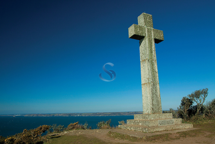 Navigational Cross on Dodman Point, the highest point of the Roseland Peninsula, Cornwall