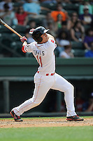 Third baseman Michael Chavis (11) of the Greenville Drive in a game against the Hagerstorn Suns on Thursday, May 7, 2015, at Fluor Field at the West End in Greenville, South Carolina. Chavis was a first-round pick of the Boston Red Sox in the 2014 First-Year Player Draft. Greenville won, 4-0. (Tom Priddy/Four Seam Images)