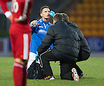 St Johnstone v Aberdeen.....07.12.13    SPFL<br /> Gary McDonald gets treatment for a bust lip<br /> Picture by Graeme Hart.<br /> Copyright Perthshire Picture Agency<br /> Tel: 01738 623350  Mobile: 07990 594431