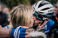 sweet victory kiss for Florian SÉNÉCHAL (FRA/Deceuninck-Quick Step) as he wins the 51th Le Samyn 2019 <br /> <br /> Quaregnon to Dour (BEL): 200km<br /> <br /> ©kramon