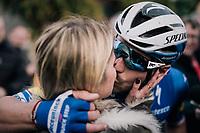 sweet victory kiss for Florian SÉNÉCHAL (FRA/Deceuninck-Quick Step) as he wins the 51th Le Samyn 2019 <br /> <br /> Quaregnon to Dour (BEL): 200km<br /> <br /> ©kramon