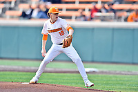 University of Tennessee starting pitcher Chase Wallace (18) delivers a pitch during a game against Western Illinois at Lindsey Nelson Stadium on February 15, 2020 in Knoxville, Tennessee. The Volunteers defeated Leathernecks 19-0. (Tony Farlow/Four Seam Images)
