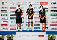 (L to R) DETTI Gabriele silver, PALTRINIERI Gregorio Gold, ACERENZA Domenico bronze<br /> 800 Freestyle Men  podium<br /> Roma 12/08/2020 Foro Italico <br /> FIN 57 Trofeo Sette Colli - Campionati Assoluti 2020 Internazionali d'Italia<br /> Photo Giorgio Scala/DBM/Insidefoto