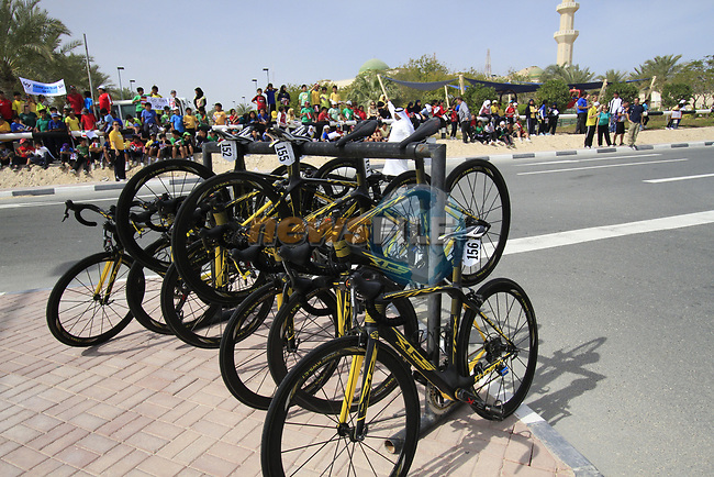 RTS Racing Team bikes lined up before the start of the 3rd Stage of the 2012 Tour of Qatar running 146.5km from Dukhan Souq, Dukhan to Al Gharafa, Qatar. 7th February 2012.<br /> (Photo Eoin Clarke/Newsfile)