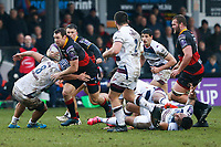 Adam Warren of Dragons is tackled by Leroy Houston of Bordeaux Begles during the European Challenge Cup match between Dragons and Bordeaux Begles at Rodney Parade, Newport, Wales, UK. 20 January 2018