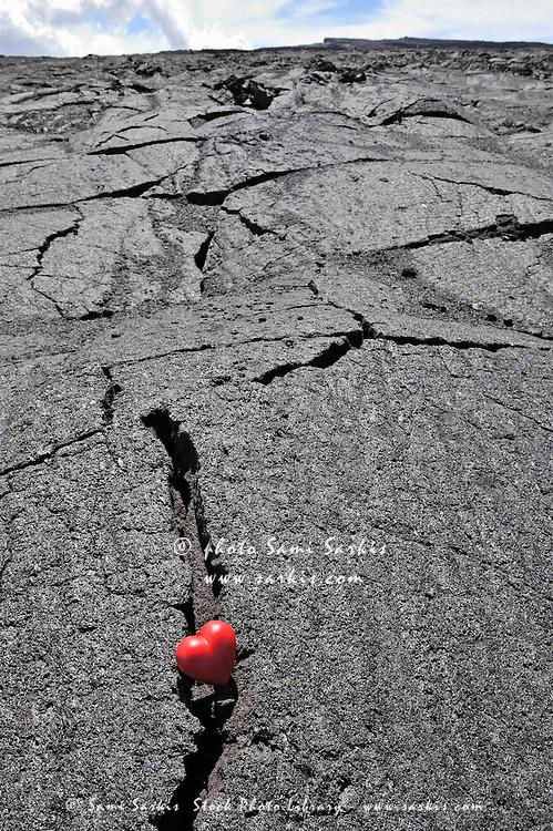 Heartshape in crack of cooled pahoehoe lava, Mauna Loa caldera, Big Island, Hawaii Islands, Usa