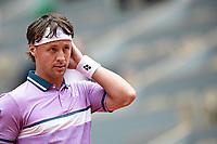 5th June 2021; Roland Garros, Paris France; French Open tennis championships day 7;   Ricardas BERANKIS of Lituania reacts against Novak DJOKOVIC of Serbia