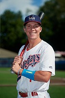 Auburn Doubledays Jack Dunn (1) poses for a photo before a NY-Penn League game against the West Virginia Black Bears on August 23, 2019 at Falcon Park in Auburn, New York.  West Virginia defeated Auburn 8-1, the first game of a doubleheader.  (Mike Janes/Four Seam Images)