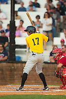 Sandy Santos (17) of the Bristol Pirates at bat against the Johnson City Cardinals at Howard Johnson Field at Cardinal Park on July 6, 2015 in Johnson City, Tennessee.  The Cardinals defeated the Pirates 8-2 in game two of a double-header. (Brian Westerholt/Four Seam Images)