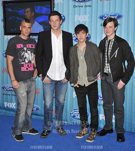"""""""Glee"""" stars Mark Salling (left), Cory Monteith, Kevin McHale & Chris Colfer at the American Idol Final 13 Party at Area Nightclub, West Hollywood..March 5, 2009  Los Angeles, CA.Picture: Paul Smith / Featureflash"""