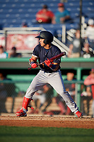 State College Spikes Jonatan Machado (3) bats during a NY-Penn League game against the Batavia Muckdogs on July 1, 2019 at Dwyer Stadium in Batavia, New York.  Batavia defeated State College 5-4.  (Mike Janes/Four Seam Images)
