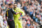 Oscar Duarte of RCD Espanyol hugs Goalkeeper Diego Lopez of RCD Espanyol  during the match Real Madrid vs RCD Espanyol, a La Liga match at the Santiago Bernabeu Stadium on 18 February 2017 in Madrid, Spain. Photo by Diego Gonzalez Souto / Power Sport Images
