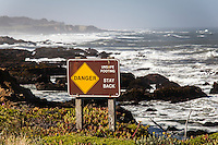Fair warning is offered by a California State Parks sign at Bean Hollow State Beach.