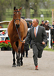 LEXINGTON, KY - APRIL 27: #2 Park Trader, and rider Bruce (Buck) Davidson Jr. jog before the vets and grand jury during the first horse inspection for the Rolex Three Day Event on Wednesday April 27, 2016 in Lexington, Kentucky. (Photo by Candice Chavez/Eclipse Sportswire/Getty Images)