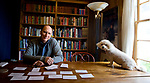 FSU professor and Pulitzer prize winning author Robert Butler and his dog Sadie at his historic Rosewood Plantation home in Capps, Florida.