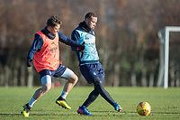 Curtis Thompson of Wycombe Wanderers & Sam Saunders of Wycombe Wanderers during the Wycombe Wanderers Training session at Wycombe Training Ground, High Wycombe, England on 17 January 2019. Photo by Andy Rowland.