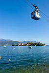 Italy, Piedmont, Stresa: Isola Bella, one of the five Borromean Islands (Isole Borromee) of lake Lago Maggiore and Mottarone cableway (Funivia Stresa-Alpino-Mottarone) | Italien, Piemont, Stresa: Isola Bella, eine der fuenf Borromaeischen Inseln im Lago Maggiore sowie die Luftseilbahn von Stresa zum Monte Mottarone (Funivia Stresa-Alpino-Mottarone)