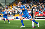 St Johnstone v St Mirren...11.09.10  .Sam Parkin celebrates his goal as a Lee Mair hangs his head.Picture by Graeme Hart..Copyright Perthshire Picture Agency.Tel: 01738 623350  Mobile: 07990 594431