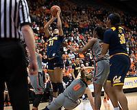 CORVALLIS, OR - February 26, 2017: Cal Bears Women's Basketball team vs. the Oregon State Beavers at Gill Coliseum. Final score, Cal Bears 56, Oregon State Beavers 71.