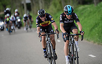 2 smiling (?) faces Michal Kwiatkowski (POL/SKY) & Philippe Gilbert (BEL/Quick Step floors) racing together towards the finish<br /> <br /> 52nd Amstel Gold Race (1.UWT)<br /> 1 Day Race: Maastricht › Berg en Terblijt (264km)