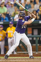 TCU Horned Frogs catcher Evan Skoug (9) at bat against the LSU Tigers in Game 10 of the NCAA College World Series on June 18, 2015 at TD Ameritrade Park in Omaha, Nebraska. TCU defeated the Tigers 8-4, eliminating LSU from the tournament. (Andrew Woolley/Four Seam Images)