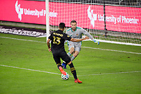 CARSON, CA - OCTOBER 28: Marko Maric  #1 of the Houston Dynamo defends his box during a game between Houston Dynamo and Los Angeles FC at Banc of California Stadium on October 28, 2020 in Carson, California.