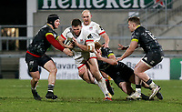 2nd January 2021 | Ulster vs Munster <br /> <br /> Stuart McCloskey is tackled by Ben Healy and Chris Cloete  during the PRO14 Round 10 clash between Ulster Rugby and Munster Rugby at the Kingspan Stadium, Ravenhill Park, Belfast, Northern Ireland. Photo by John Dickson/Dicksondigital