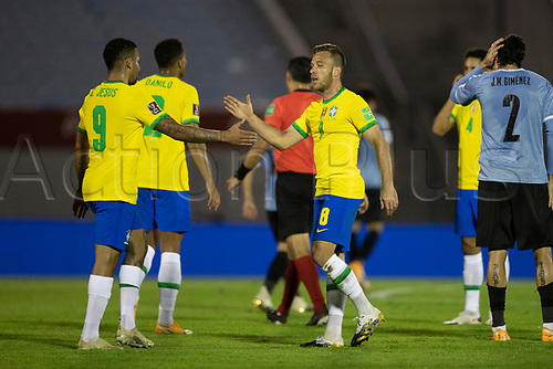 17th November 2020; Centenario Stadium, Montevideo, Uruguay; Fifa World Cup 2022 Qualifying football; Uruguay versus Brazil; Arthur of Brazil celebrates his goal with Gabriel Jesus in the 34th minute 0-1