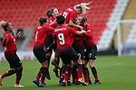 Katie Zelem of Manchester United Women cele on goal with Alex Greenwood of Manchester United Women and Lizzie Arnot of Manchester United Women with team cele