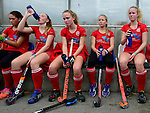 GER - Mannheim, Germany, October 25: During the final at the Deutsche Meisterschaft WJB between Mannheimer HC (blue) and Bremer HC (red) on October 25, 2015 at Mannheimer Hockey Club in Mannheim, Germany. Final score 3-5 (ET 1-1, FT 1-1, HT 0-1). (Photo by Dirk Markgraf / www.265-images.com) *** Local caption ***