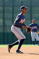 Infielder Carlos Franco (46) of the Atlanta Braves farm system in a Minor League Spring Training workout on Tuesday, March 17, 2015, at the ESPN Wide World of Sports Complex in Lake Buena Vista, Florida. (Tom Priddy/Four Seam Images)