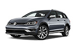 Stock pictures of low aggressive front three quarter view of a 2018 Volkswagen Golf Alltrack TSI SEL 4Motion DSG 5 Door Wagon
