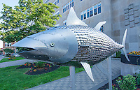 Canada Prince Edward Island, P.E.I. Charlottetown downtown art work sculpture of fish called Bluefish Bullet by Gerald Beaulieu art