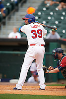 Buffalo Bisons outfielder Alex Hassan (39) at bat during a game against the Columbus Clippers on July 19, 2015 at Coca-Cola Field in Buffalo, New York.  Buffalo defeated Columbus 4-3 in twelve innings.  (Mike Janes/Four Seam Images)