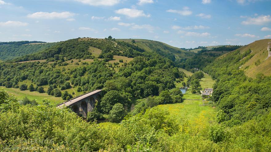 Monsal Head viaduct, Peak District National Park, Derbyshire, UK. July.