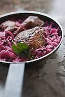 Europe/France/Midi-Pyrénées/65/Hautes-Pyrénées/Vallée du Louron/Loudenvielle: Salmis de palombe au chou rouge, recette de Didier Raynaud du restaurant le Chante-Coq