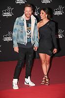 David Guetta et Jessica arrivent sur le Tapis Rouge / Red Carpet avant la Ceremonie des 19 EME NRJ MUSIC AWARDS 2017, Palais des Festivals et des Congres, Cannes Sud de la France, samedi 4 novembre 2017.