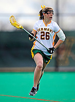 5 April 2008: University of Vermont Catamounts' Midfielder Jessa Merrill, a Junior from Kennebunk, ME, in action against the University at Albany Great Danes at Moulton Winder Field, in Burlington, Vermont. With only seconds left in regulation time, the Catamounts rallied to defeat the visiting Danes 11-10 in America East conference play...Mandatory Photo Credit: Ed Wolfstein Photo