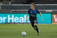 SAN JOSE, CA - OCTOBER 03: Jackson Yueill #14 of the San Jose Earthquakes controls the ball during a game between Los Angeles Galaxy and San Jose Earthquakes at Earthquakes Stadium on October 03, 2020 in San Jose, California.