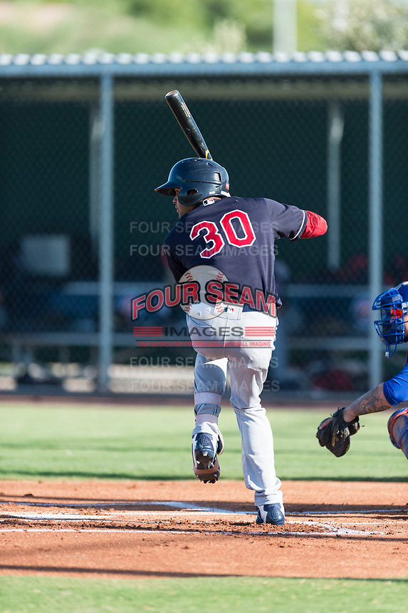 AZL Indians 1 right fielder Johnathan Rodriguez (30) at bat during an Arizona League game against the AZL Cubs 1 at Sloan Park on August 27, 2018 in Mesa, Arizona. The AZL Cubs 1 defeated the AZL Indians 1 by a score of 3-2. (Zachary Lucy/Four Seam Images)