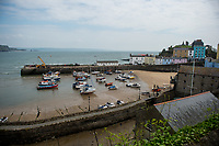 View of the harbour with the tide out at Tenby, Pembrokeshire, Wales, UK