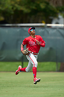 Philadelphia Phillies outfielder Jefferson Encarnacion (35) tracks a fly ball during an Extended Spring Training game against the New York Yankees on June 22, 2021 at the Carpenter Complex in Clearwater, Florida. (Mike Janes/Four Seam Images)