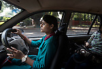 19 September  2013, New Delhi, INDIA:  Geeta Kumari, 21 driving her ' women only ' taxi , a service run by Sakha Consulting Wings in New Delhi that has begun training more young women drivers for the service. The recent spate of violent attacks against women in New Delhi has prompted segregation of the sexes on transport to be highlighted as a neccesity. Many local women feel much safer travelling in taxi's driven by women and travelling in women only carriages on the railways. Picture by Graham Crouch for The Washington Post