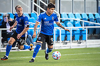 SAN JOSE, CA - MAY 22: Javier Eduardo Lopez #9 of the San Jose Earthquakes during a game between San Jose Earthquakes and Sporting Kansas City at PayPal Park on May 22, 2021 in San Jose, California.