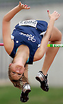 """Stephenville's Laura Skinner clears 5'6"""" in the high jump, placing second in the event during a high school 4A state track and field in Austin on Friday, May 11, 2007.  (photo by Khampha Bouaphanh)"""